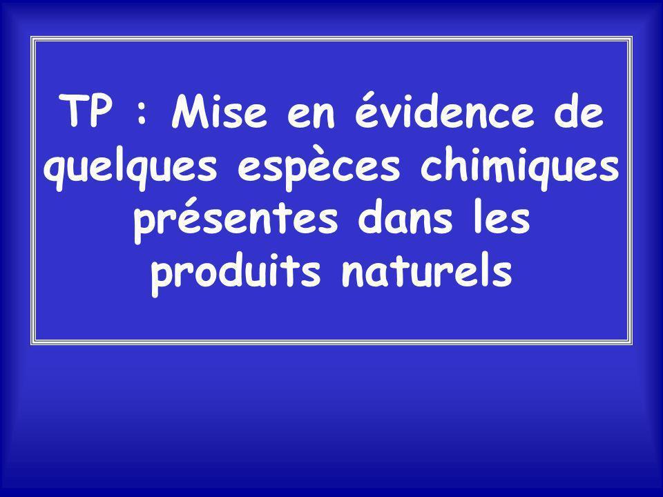 Chapitre 1 : Identification de substances chimiques TP : Mise en évidence de quelques espèces chimiques présentes dans les produits naturels A1 : sécu