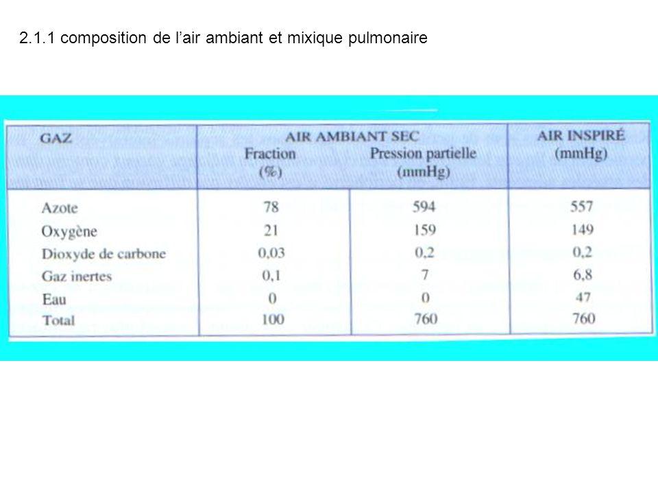 2.1.1 composition de lair ambiant et mixique pulmonaire