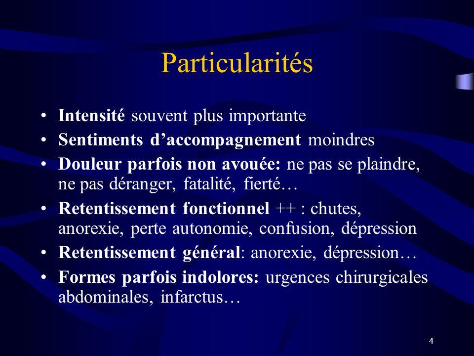 4 Particularités Intensité souvent plus importante Sentiments daccompagnement moindres Douleur parfois non avouée: ne pas se plaindre, ne pas déranger