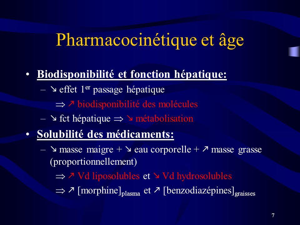 7 Pharmacocinétique et âge Biodisponibilité et fonction hépatique: – effet 1 er passage hépatique biodisponibilité des molécules – fct hépatique métabolisation Solubilité des médicaments: – masse maigre + eau corporelle + masse grasse (proportionnellement) Vd liposolubles et Vd hydrosolubles [morphine] plasma et [benzodiazépines] graisses