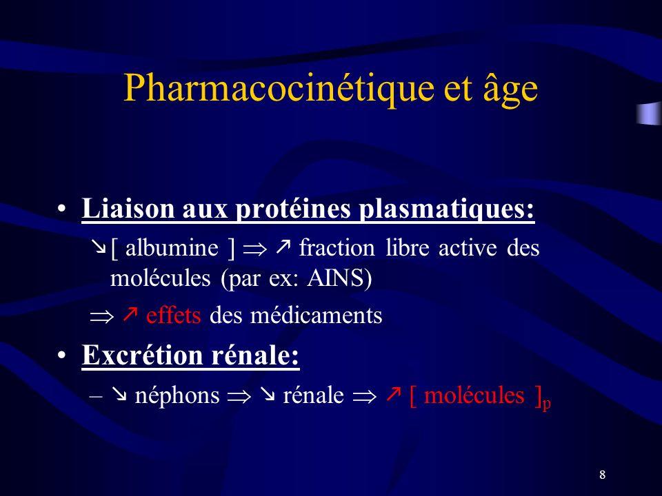 8 Pharmacocinétique et âge Liaison aux protéines plasmatiques: [ albumine ] fraction libre active des molécules (par ex: AINS) effets des médicaments Excrétion rénale: – néphons rénale [ molécules ] p