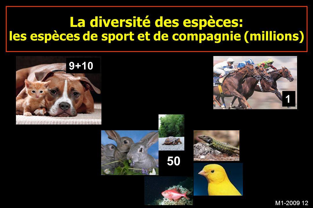 M1-2009 12 La diversité des espèces: les espèces de sport et de compagnie (millions) 9+10 50 1