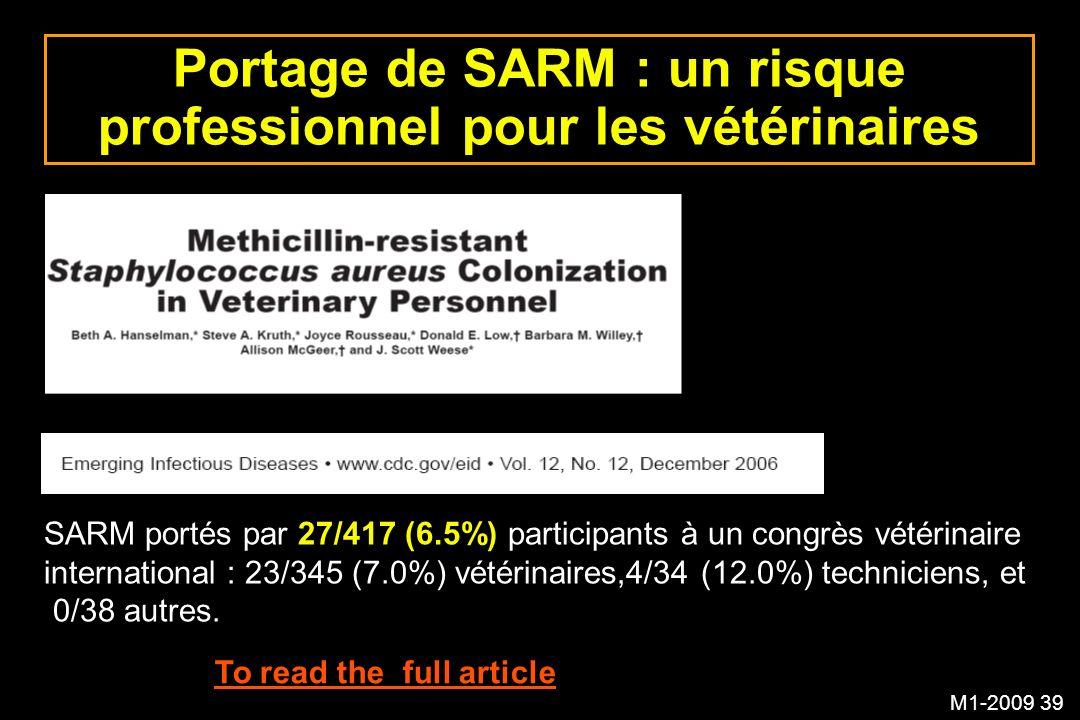 M1-2009 39 Portage de SARM : un risque professionnel pour les vétérinaires To read the full article SARM portés par 27/417 (6.5%) participants à un co