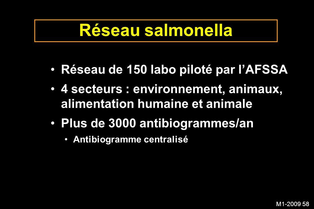 M1-2009 58 Réseau salmonella Réseau de 150 labo piloté par lAFSSA 4 secteurs : environnement, animaux, alimentation humaine et animale Plus de 3000 an