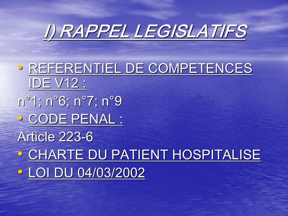 I) RAPPEL LEGISLATIFS REFERENTIEL DE COMPETENCES IDE V12 : REFERENTIEL DE COMPETENCES IDE V12 : n°1; n°6; n°7; n°9 CODE PENAL : CODE PENAL : Article 2