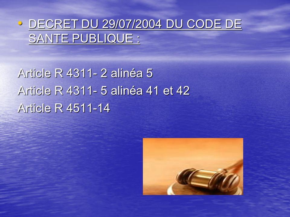DECRET DU 29/07/2004 DU CODE DE SANTE PUBLIQUE : DECRET DU 29/07/2004 DU CODE DE SANTE PUBLIQUE : Article R 4311- 2 alinéa 5 Article R 4311- 5 alinéa