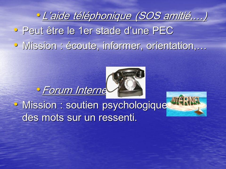 Laide téléphonique (SOS amitié,…) Laide téléphonique (SOS amitié,…) Peut être le 1er stade dune PEC Peut être le 1er stade dune PEC Mission : écoute,