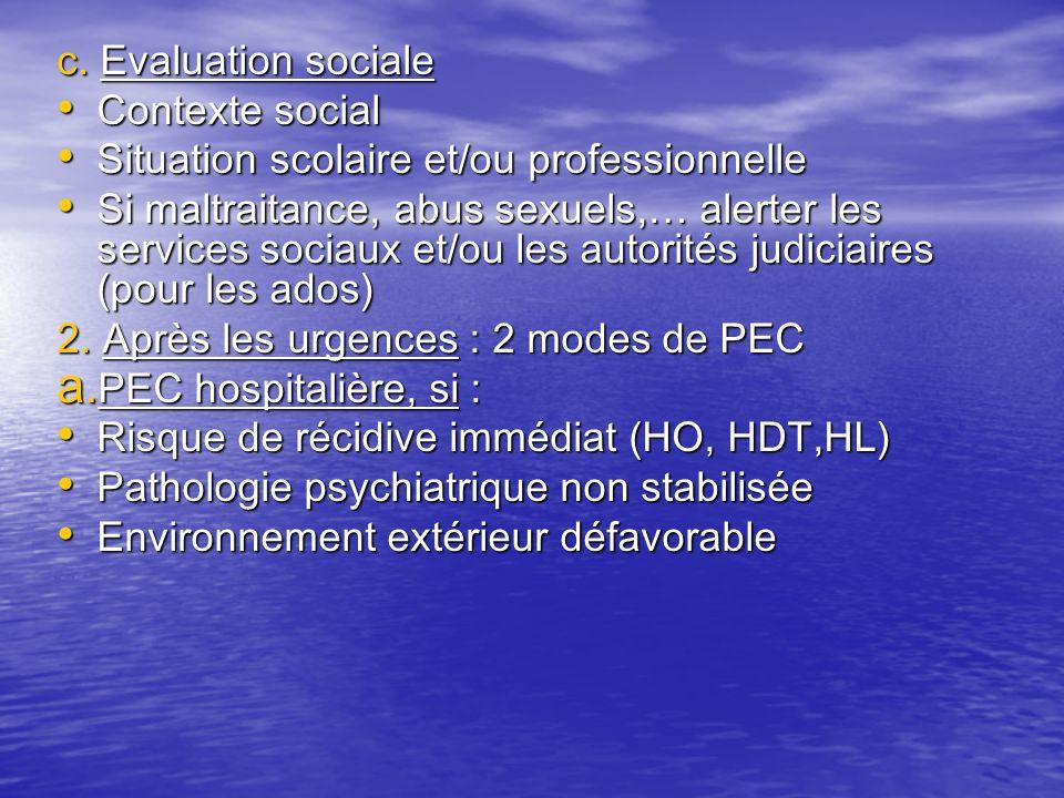 c. Evaluation sociale Contexte social Contexte social Situation scolaire et/ou professionnelle Situation scolaire et/ou professionnelle Si maltraitanc