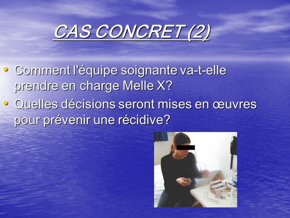 CAS CONCRET (2) Comment l'équipe soignante va-t-elle prendre en charge Melle X? Comment l'équipe soignante va-t-elle prendre en charge Melle X? Quelle