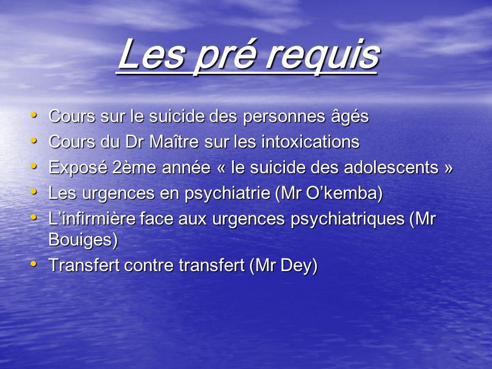 Les pré requis Cours sur le suicide des personnes âgés Cours sur le suicide des personnes âgés Cours du Dr Maître sur les intoxications Cours du Dr Ma