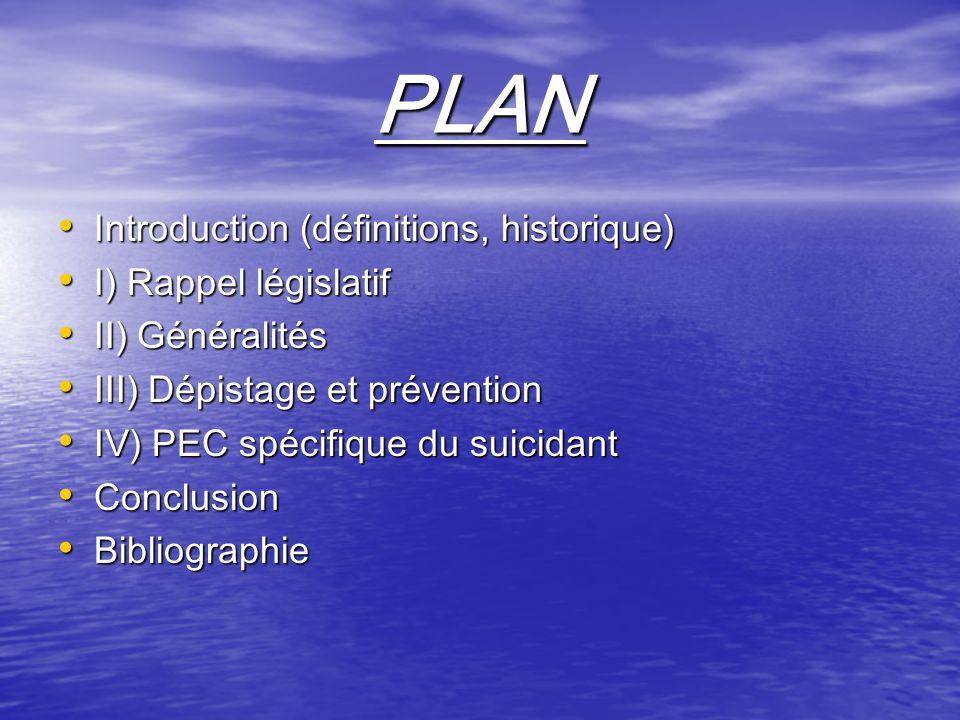 PLAN Introduction (définitions, historique) Introduction (définitions, historique) I) Rappel législatif I) Rappel législatif II) Généralités II) Génér