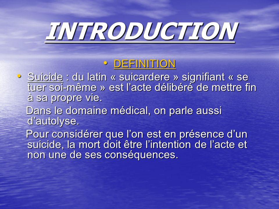 INTRODUCTION DEFINITION DEFINITION Suicide : du latin « suicardere » signifiant « se tuer soi-même » est lacte délibéré de mettre fin à sa propre vie.