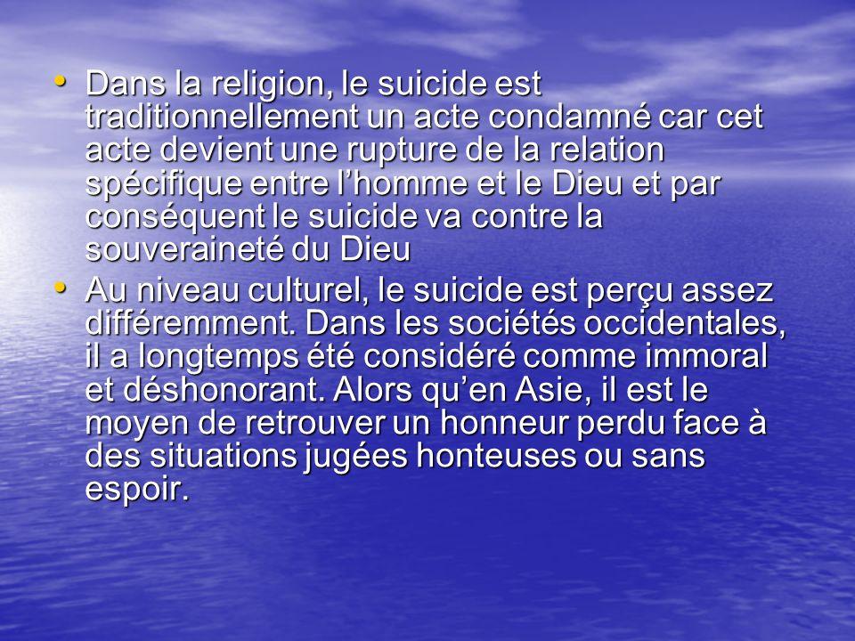 Dans la religion, le suicide est traditionnellement un acte condamné car cet acte devient une rupture de la relation spécifique entre lhomme et le Die