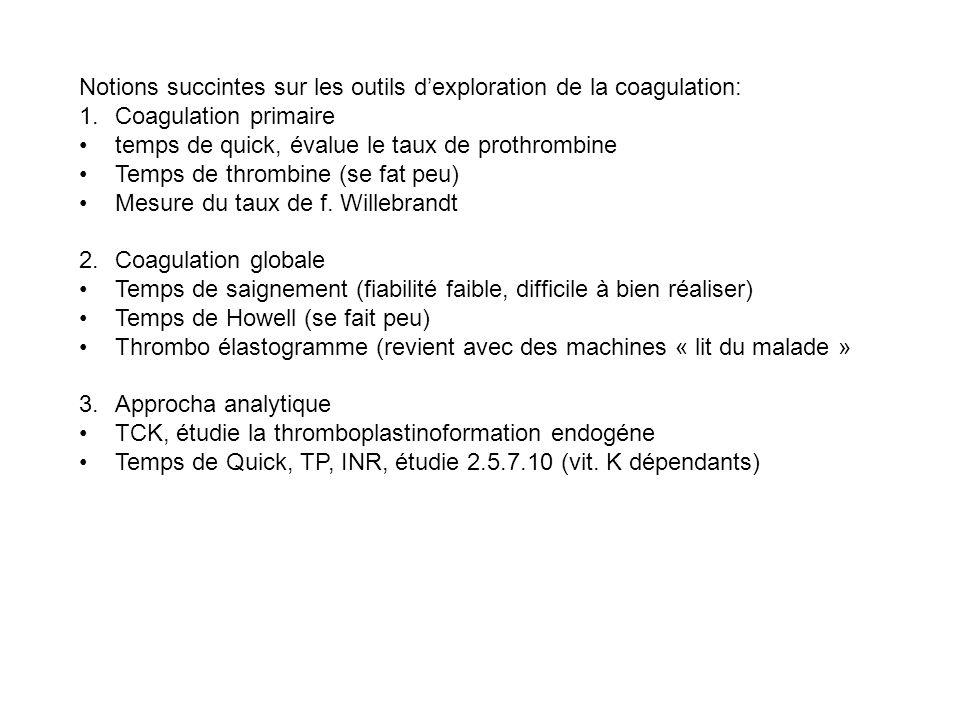 Notions succintes sur les outils dexploration de la coagulation: 1.Coagulation primaire temps de quick, évalue le taux de prothrombine Temps de thromb