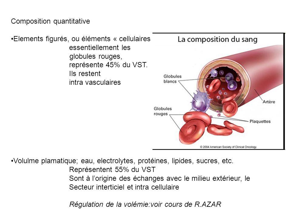 Composition quantitative Elements figurés, ou éléments « cellulaires », essentiellement les globules rouges, représente 45% du VST. Ils restent intra