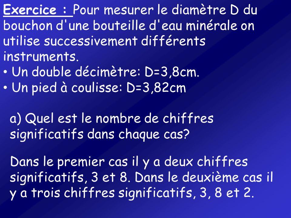 Exercice : Pour mesurer le diamètre D du bouchon d'une bouteille d'eau minérale on utilise successivement différents instruments. Un double décimètre: