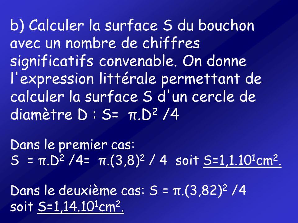 b) Calculer la surface S du bouchon avec un nombre de chiffres significatifs convenable. On donne l'expression littérale permettant de calculer la sur