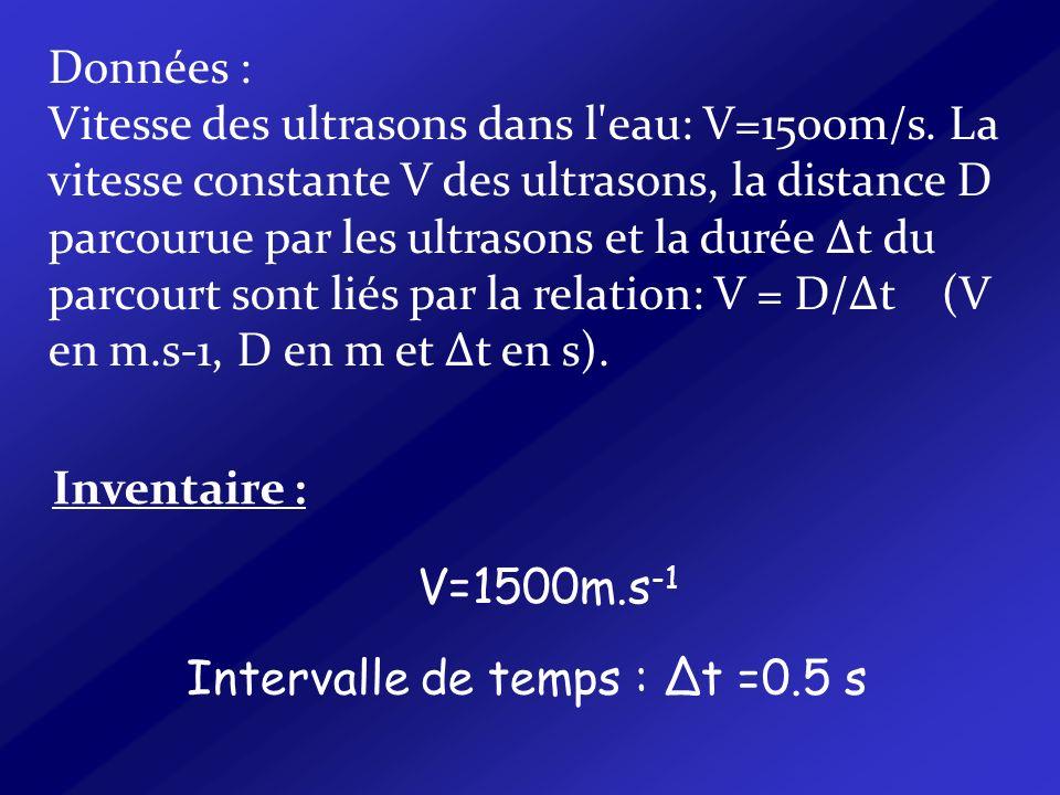 Données : Vitesse des ultrasons dans l'eau: V=1500m/s. La vitesse constante V des ultrasons, la distance D parcourue par les ultrasons et la durée Δt