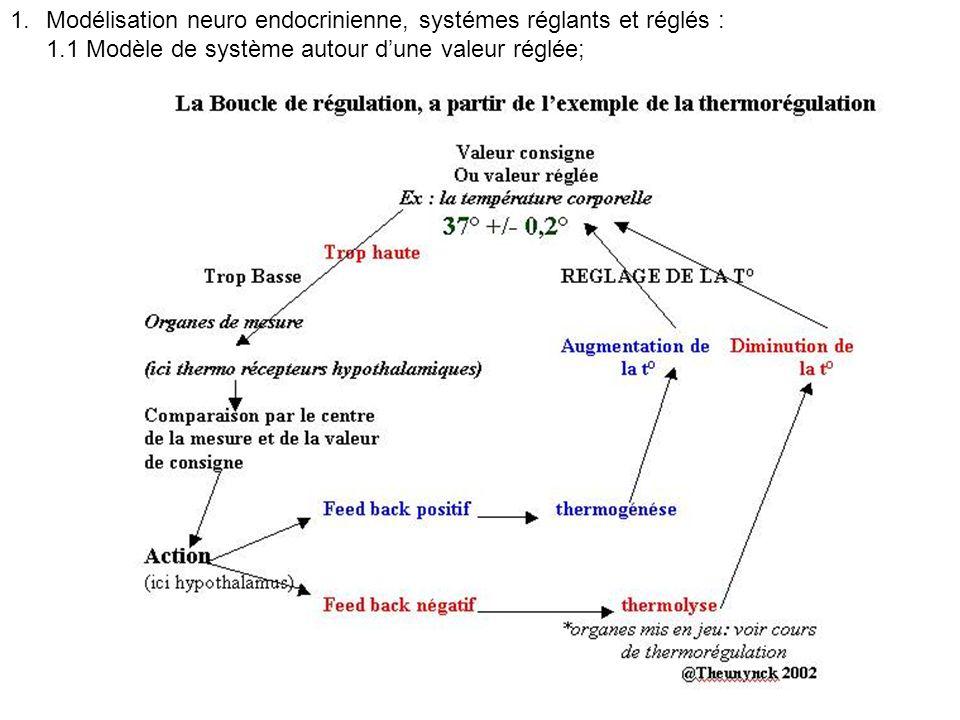 1.Modélisation neuro endocrinienne, systémes réglants et réglés : 1.1 Modèle de système autour dune valeur réglée;
