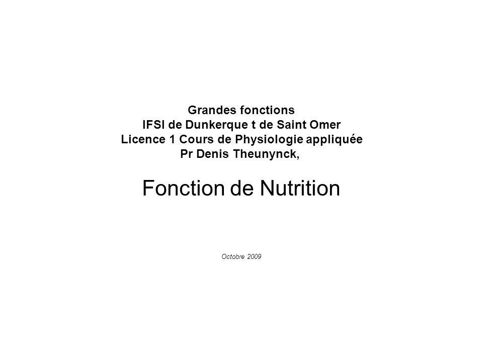 Grandes fonctions IFSI de Dunkerque t de Saint Omer Licence 1 Cours de Physiologie appliquée Pr Denis Theunynck, Fonction de Nutrition Octobre 2009