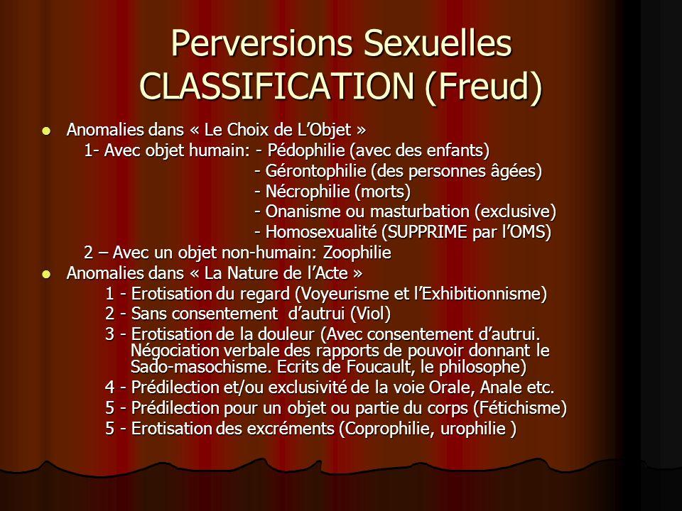 Perversions Sexuelles CLASSIFICATION (Freud) Anomalies dans « Le Choix de LObjet » Anomalies dans « Le Choix de LObjet » 1- Avec objet humain: - Pédop
