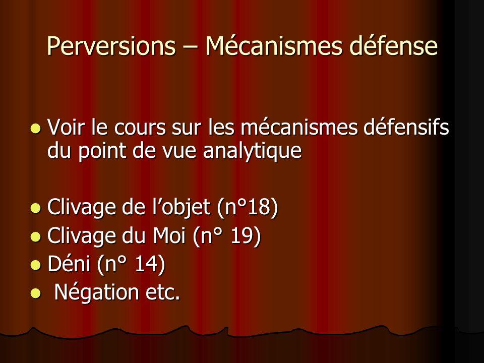 Perversions – Mécanismes défense Voir le cours sur les mécanismes défensifs du point de vue analytique Voir le cours sur les mécanismes défensifs du p
