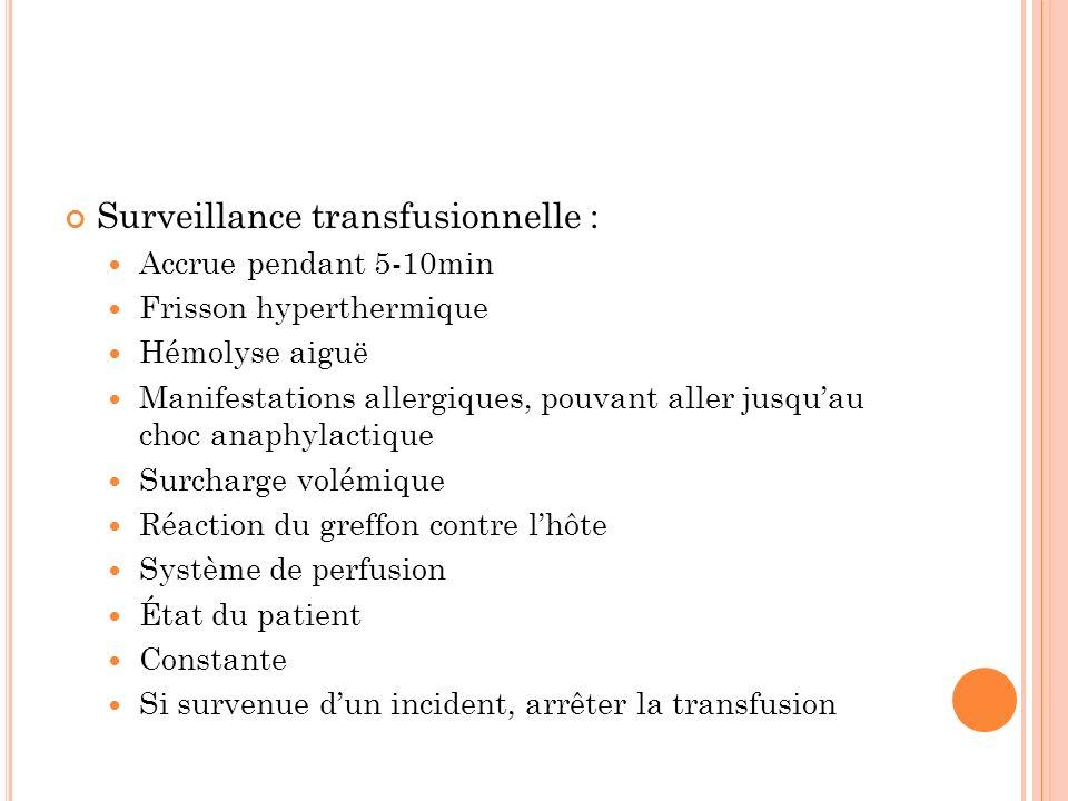 Surveillance transfusionnelle : Accrue pendant 5-10min Frisson hyperthermique Hémolyse aiguë Manifestations allergiques, pouvant aller jusquau choc an