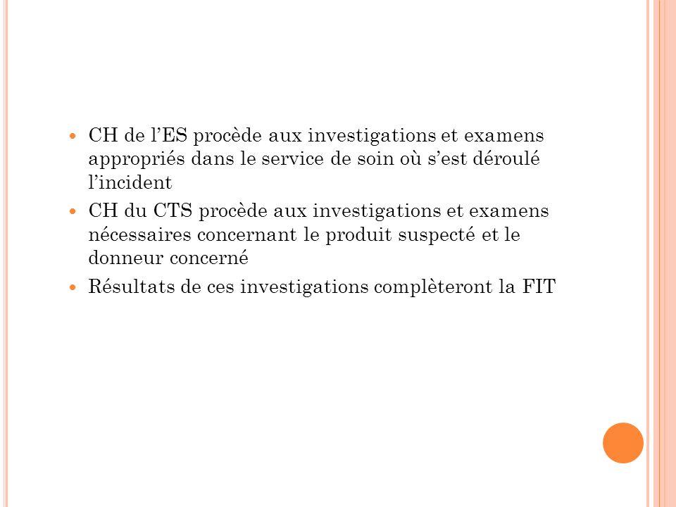 CH de lES procède aux investigations et examens appropriés dans le service de soin où sest déroulé lincident CH du CTS procède aux investigations et e