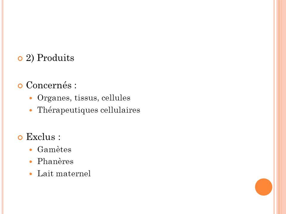 2) Produits Concernés : Organes, tissus, cellules Thérapeutiques cellulaires Exclus : Gamètes Phanères Lait maternel