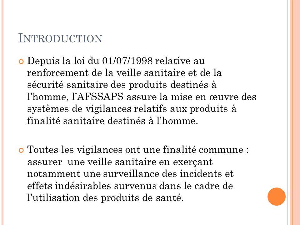 I NTRODUCTION Depuis la loi du 01/07/1998 relative au renforcement de la veille sanitaire et de la sécurité sanitaire des produits destinés à lhomme,
