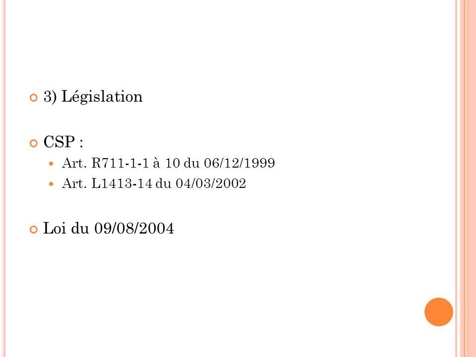 3) Législation CSP : Art. R711-1-1 à 10 du 06/12/1999 Art. L1413-14 du 04/03/2002 Loi du 09/08/2004