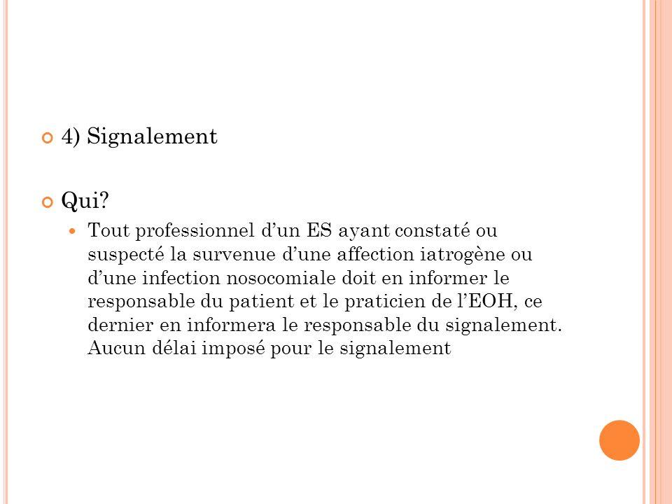 4) Signalement Qui? Tout professionnel dun ES ayant constaté ou suspecté la survenue dune affection iatrogène ou dune infection nosocomiale doit en in