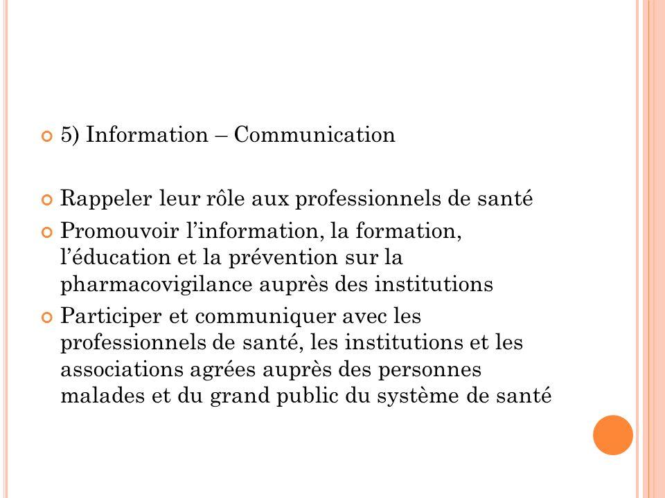 5) Information – Communication Rappeler leur rôle aux professionnels de santé Promouvoir linformation, la formation, léducation et la prévention sur l