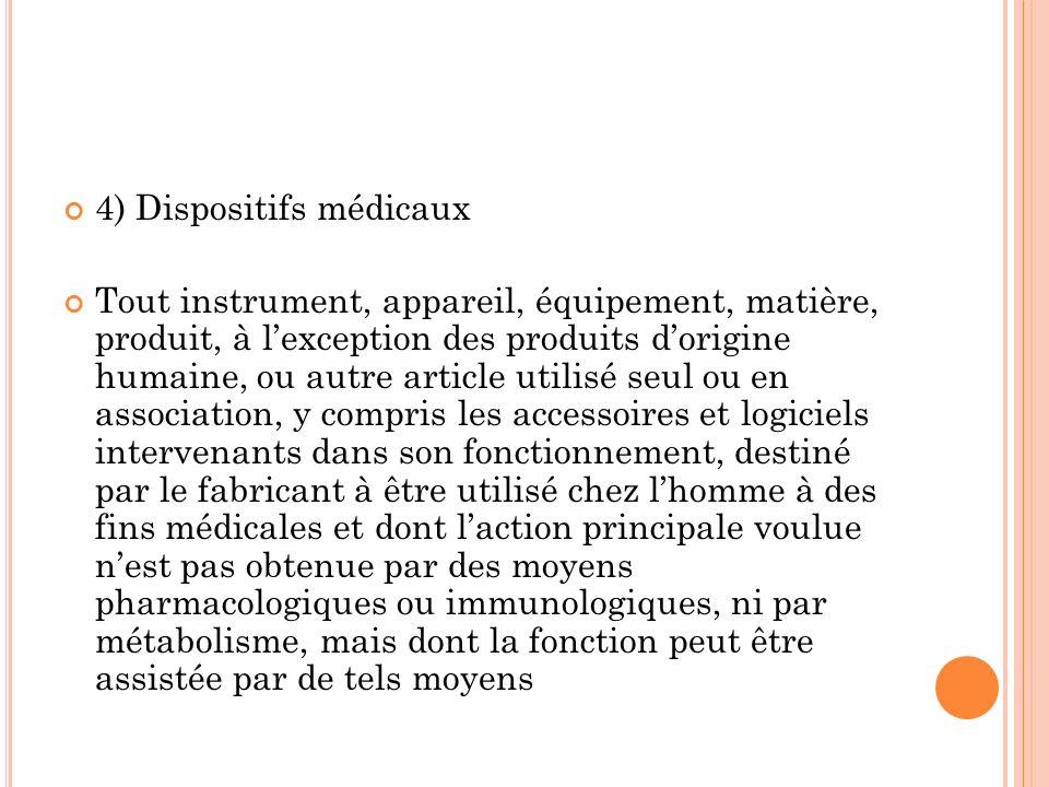 4) Dispositifs médicaux Tout instrument, appareil, équipement, matière, produit, à lexception des produits dorigine humaine, ou autre article utilisé
