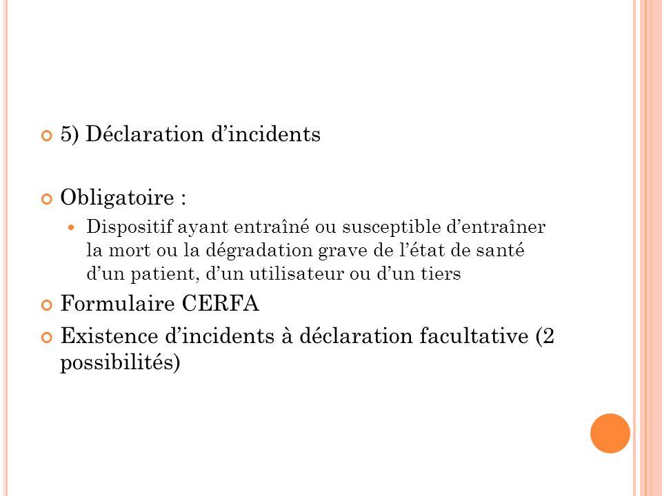 5) Déclaration dincidents Obligatoire : Dispositif ayant entraîné ou susceptible dentraîner la mort ou la dégradation grave de létat de santé dun pati