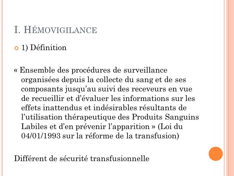 I. H ÉMOVIGILANCE 1) Définition « Ensemble des procédures de surveillance organisées depuis la collecte du sang et de ses composants jusquau suivi des