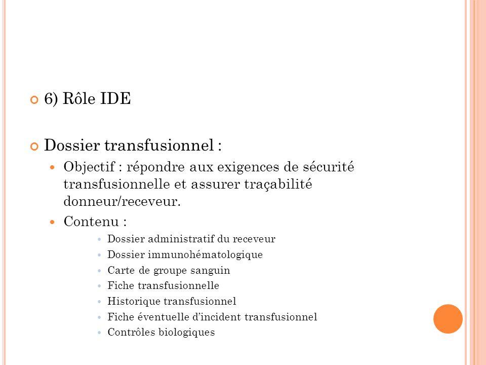 6) Rôle IDE Dossier transfusionnel : Objectif : répondre aux exigences de sécurité transfusionnelle et assurer traçabilité donneur/receveur. Contenu :