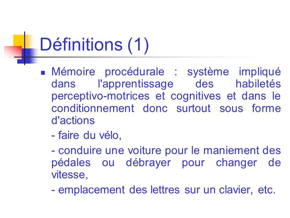 Définitions (1) Mémoire procédurale : système impliqué dans l'apprentissage des habiletés perceptivo-motrices et cognitives et dans le conditionnement
