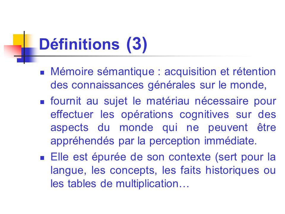 Définitions (3) Mémoire sémantique : acquisition et rétention des connaissances générales sur le monde, fournit au sujet le matériau nécessaire pour e
