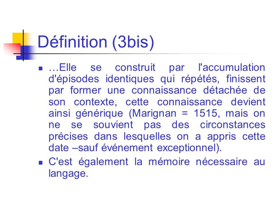 Définition (3bis) …Elle se construit par l'accumulation d'épisodes identiques qui répétés, finissent par former une connaissance détachée de son conte