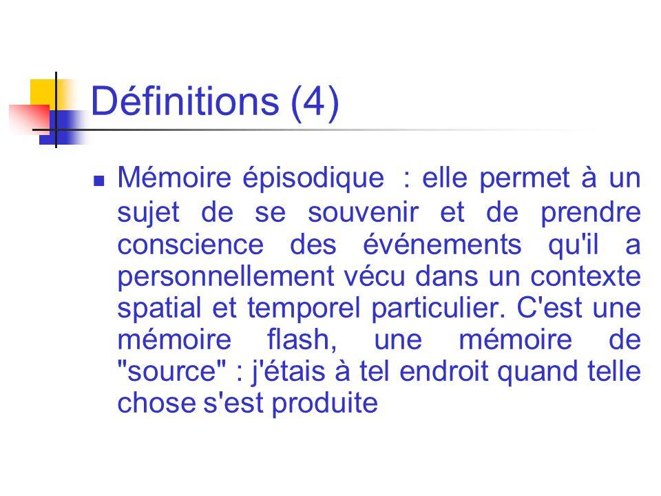 Définitions (4) Mémoire épisodique : elle permet à un sujet de se souvenir et de prendre conscience des événements qu'il a personnellement vécu dans u
