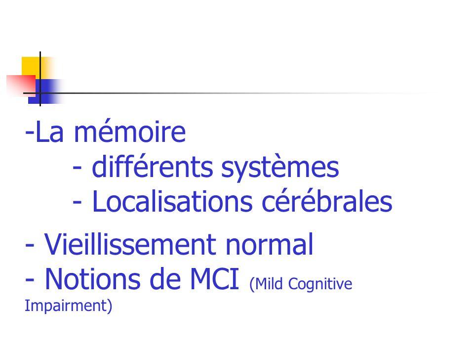 -La mémoire - différents systèmes - Localisations cérébrales - Vieillissement normal - Notions de MCI (Mild Cognitive Impairment)