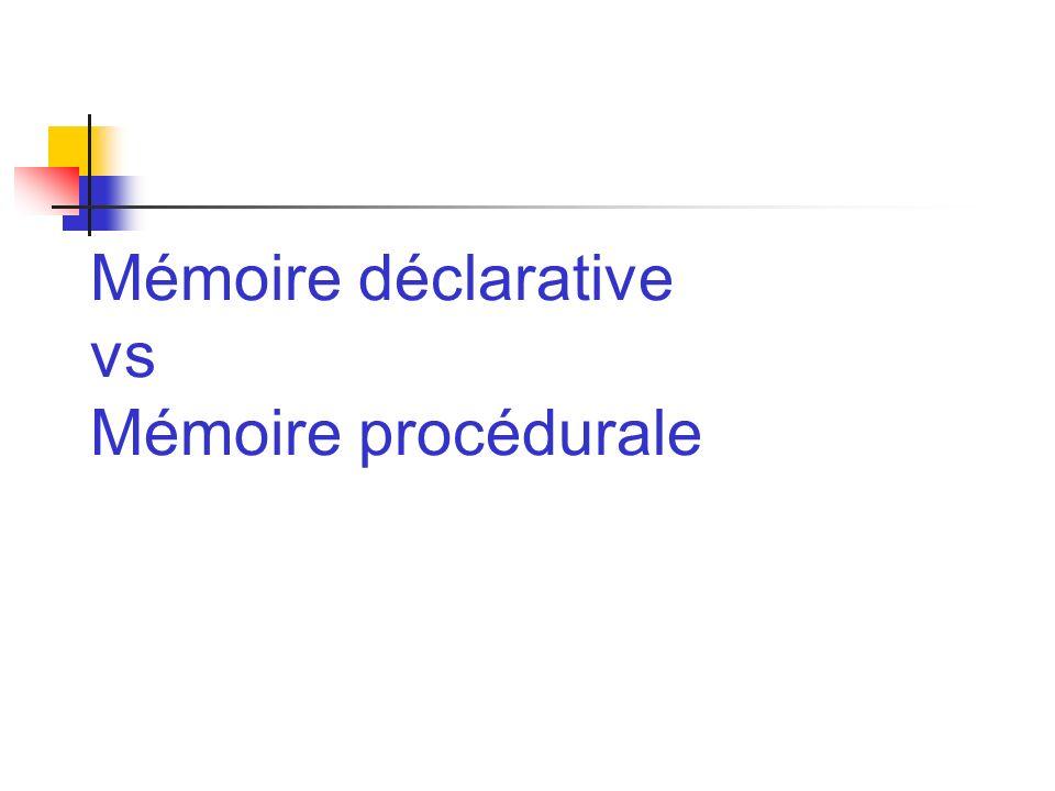 Mémoire déclarative vs Mémoire procédurale