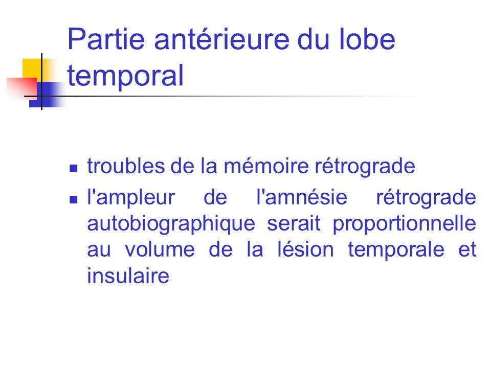 Partie antérieure du lobe temporal troubles de la mémoire rétrograde l'ampleur de l'amnésie rétrograde autobiographique serait proportionnelle au volu