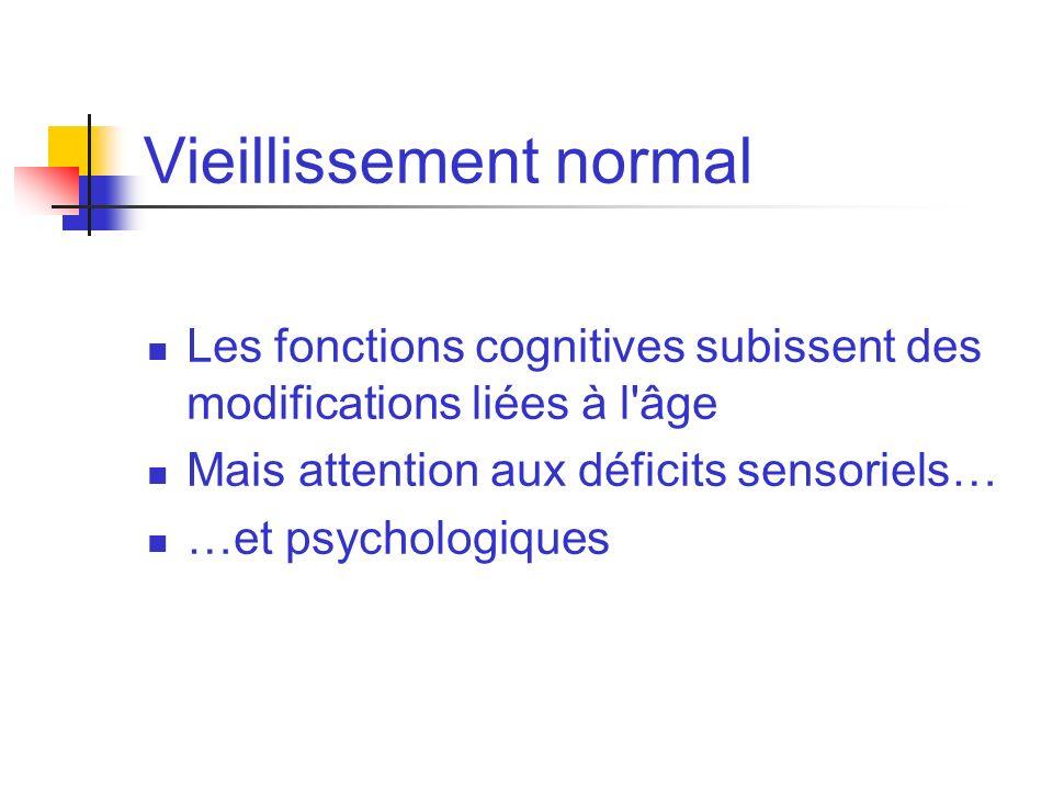 Vieillissement normal Les fonctions cognitives subissent des modifications liées à l'âge Mais attention aux déficits sensoriels… …et psychologiques