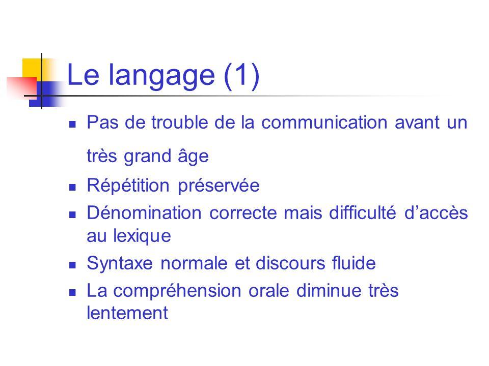 Le langage (1) Pas de trouble de la communication avant un très grand âge Répétition préservée Dénomination correcte mais difficulté daccès au lexique