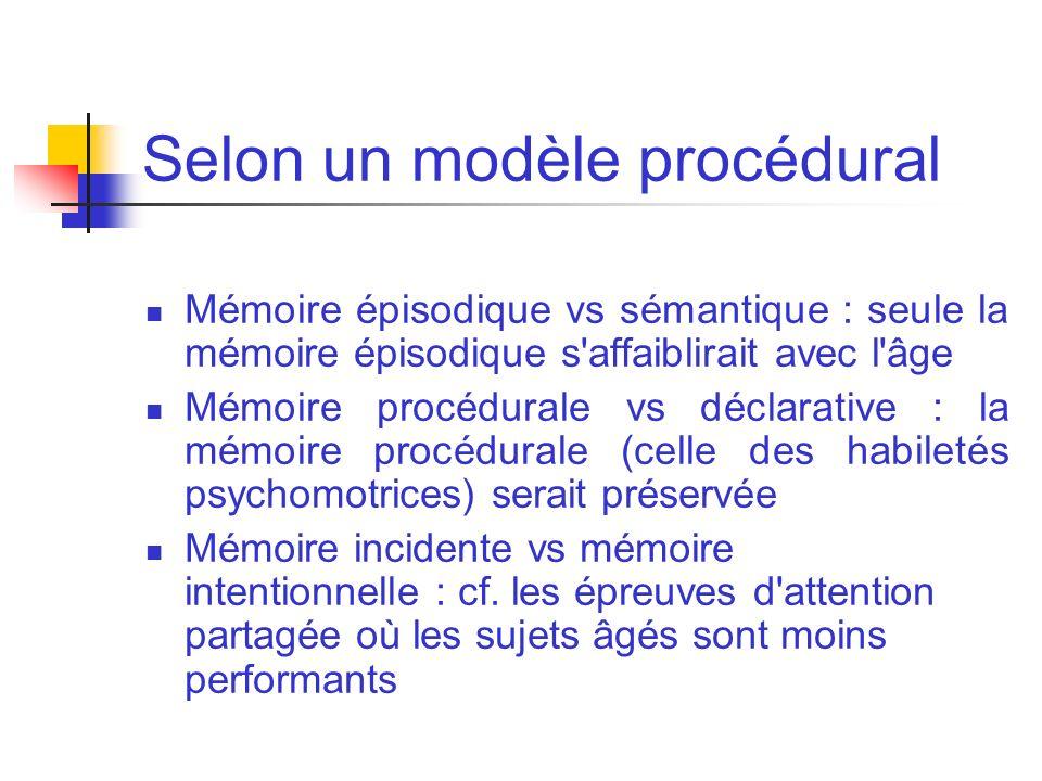 Selon un modèle procédural Mémoire épisodique vs sémantique : seule la mémoire épisodique s'affaiblirait avec l'âge Mémoire procédurale vs déclarative