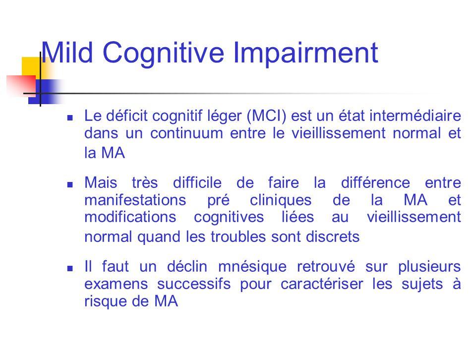 Mild Cognitive Impairment Le déficit cognitif léger (MCI) est un état intermédiaire dans un continuum entre le vieillissement normal et la MA Mais trè