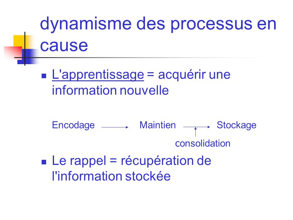 dynamisme des processus en cause L'apprentissage = acquérir une information nouvelle Encodage MaintienStockage c onsolidation Le rappel = récupération