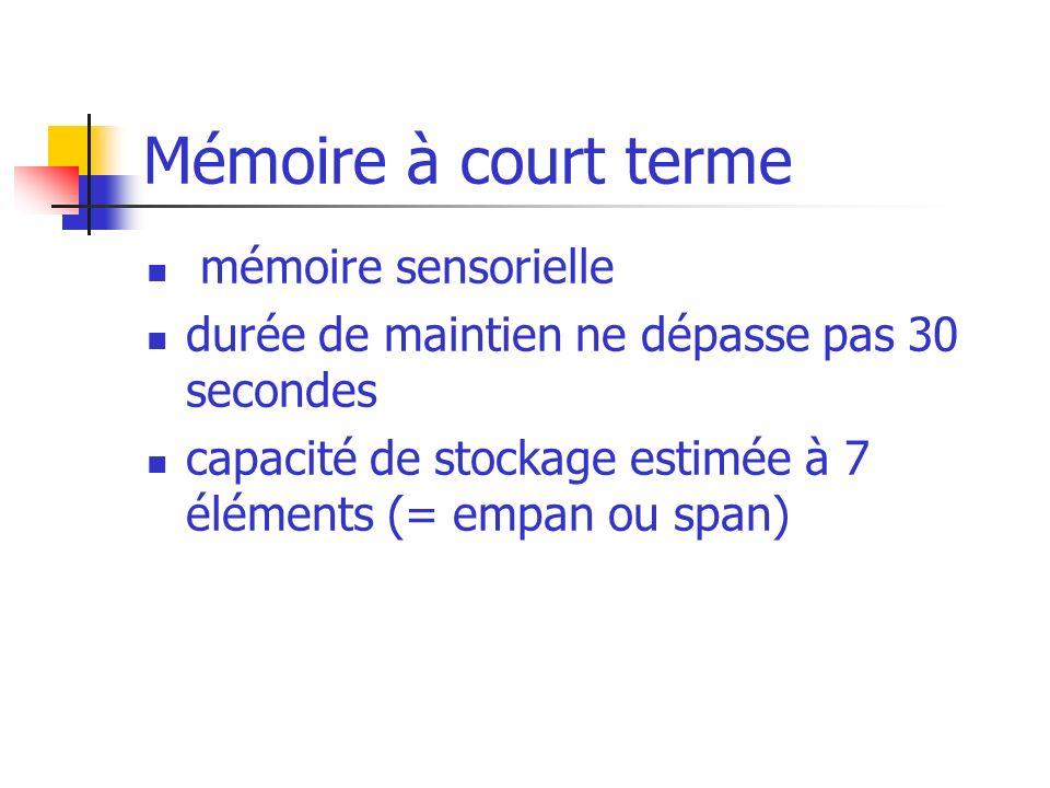 Mémoire à court terme mémoire sensorielle durée de maintien ne dépasse pas 30 secondes capacité de stockage estimée à 7 éléments (= empan ou span)